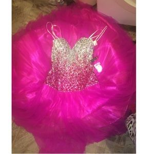 Night Moves Pink Silver Strapless Prom Dress